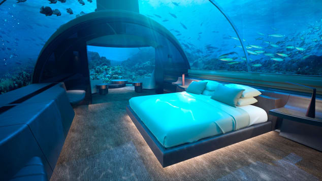 two-story hotel villa that is partly submerged 16.4 feet beneath the Indian Ocean