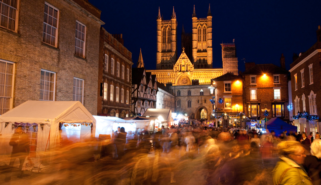 Lincoln Cathedral at Lincoln Christmas Market