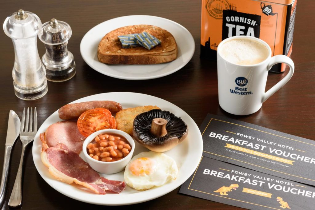 Sample of a scrumptious breakfast, perfect for families with picky eaters at Best Western Fowey Valley