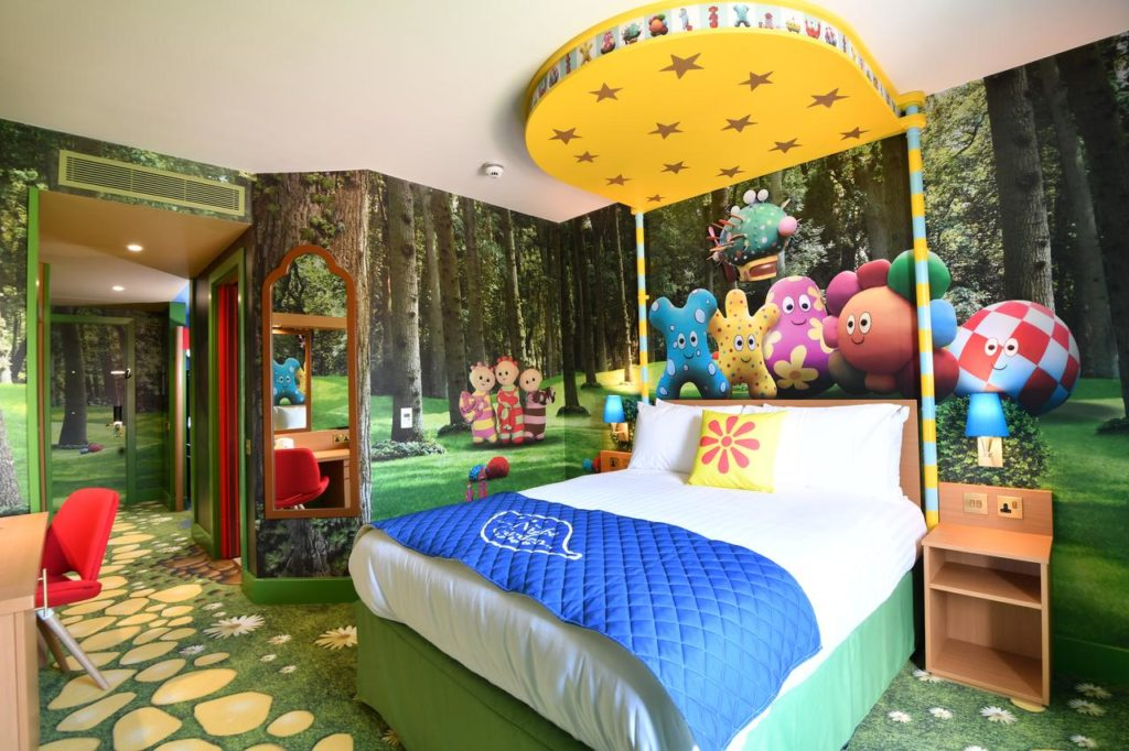 Inside the kid-friendly Nght Garden Room in Cbeebies Land Hotel
