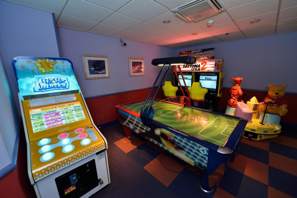 Gaming Room at kid-friendly Disneyland Hotel located inside DIsneyland Paris