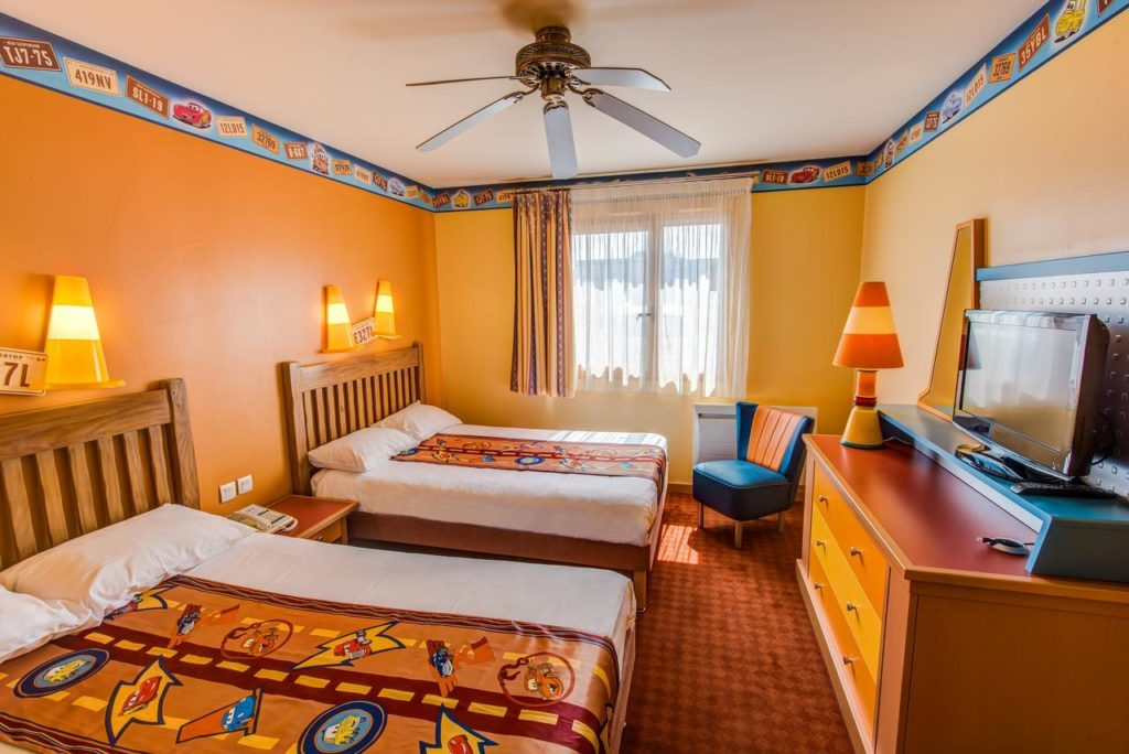 Quirky Traffic-cone Racing themed room perfect for kids at Disney's Hotel Santa Fe