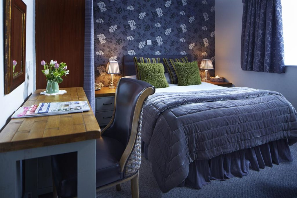Beautiful Blue & Green-themed Double-bed room at kid-friendly Drayton Court Hotel