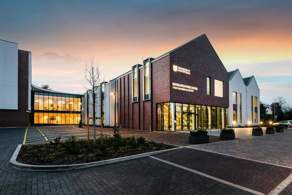 External modern look of kid-friendly Edgbaston Park Hotel and Conference Building