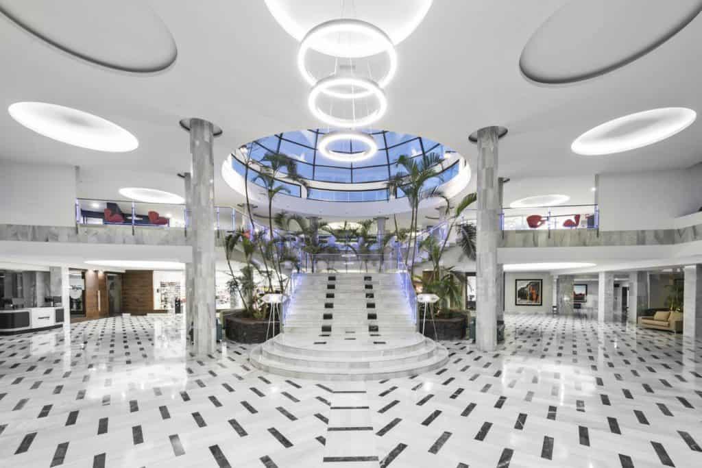 grand staircase modernistic contemporary design at elba lanzarote royal village resort hotel