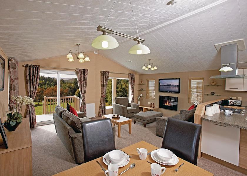 Inside the dining and lounge area of Family-friendly Flamingo Land Resort On-site Accommodation