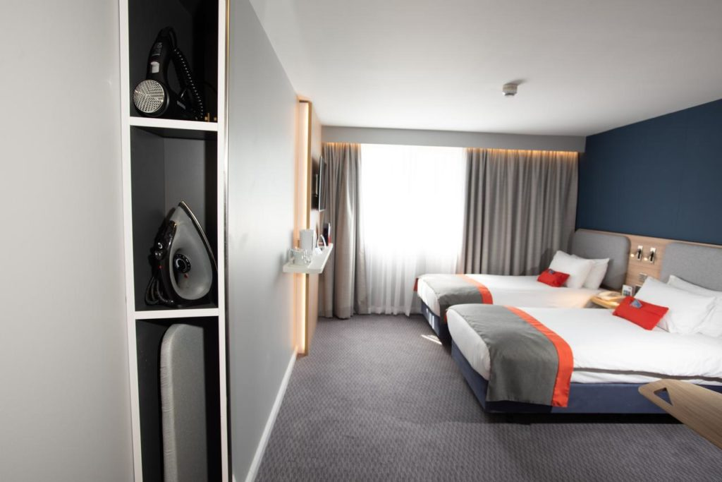 Inside a family double-bed room at Holiday Inn Express Liverpool-Knowsley