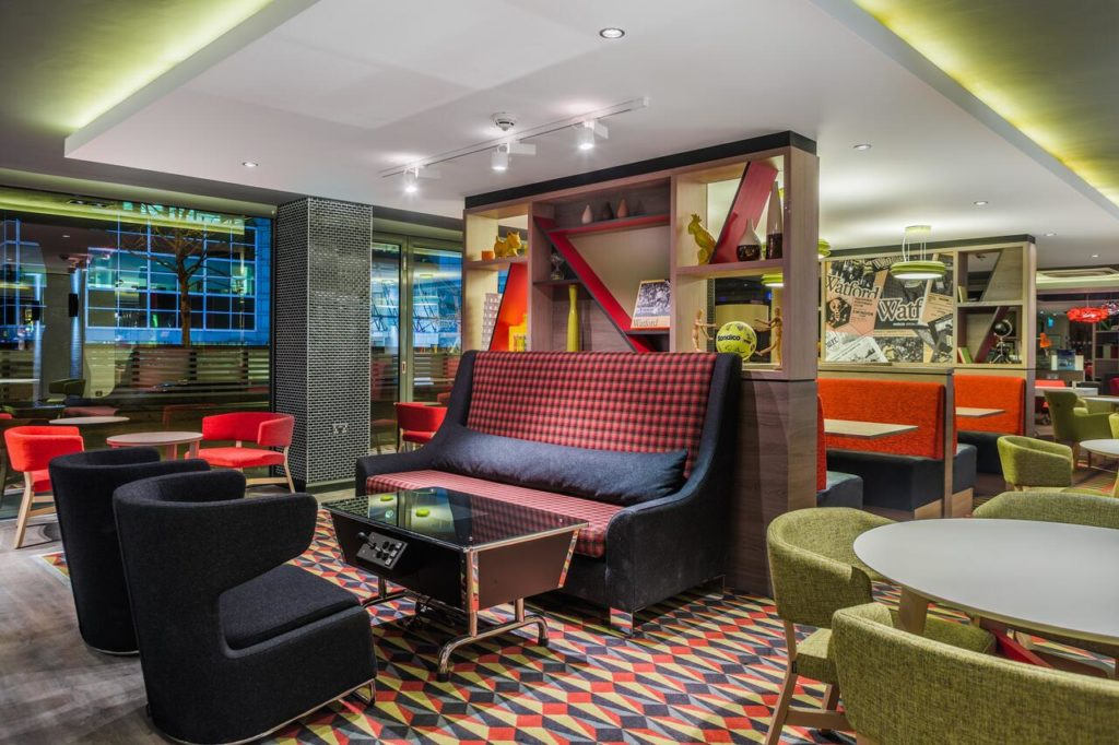 Quirky dining area that matches their stylish rooms makes at Holiday Inn London Watford Junction a unique family hotel