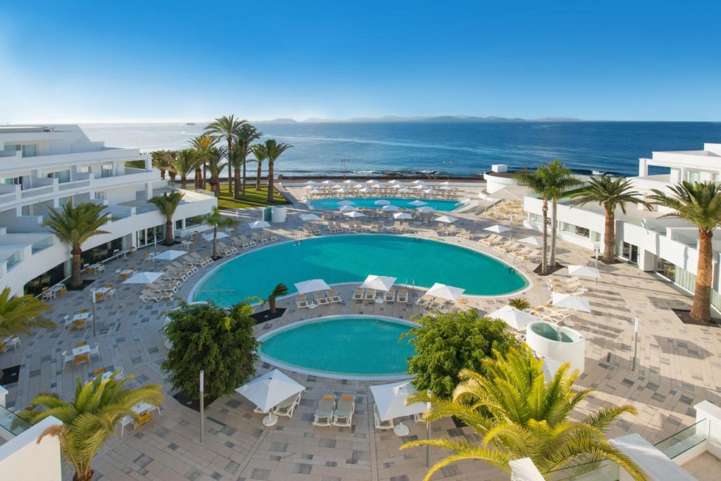 swimming pool, resort and beach at iberostar selection lanzarote park