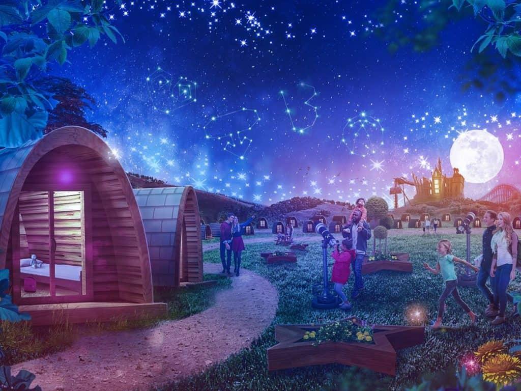 Families with children enjoying stargazing pods at Alton Towers Resort