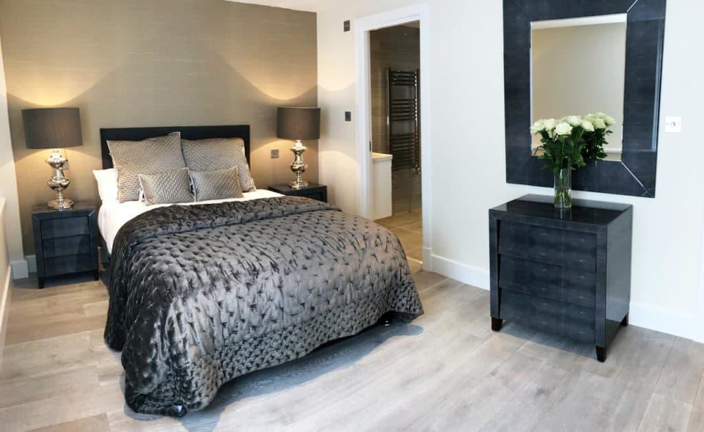 Black-themed room from family-friendly The Glasshouse Apartments, sleeps 6 near Chessington