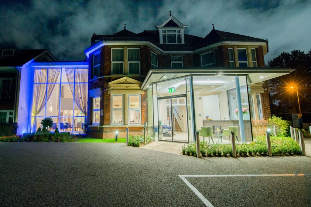 Exterior of a Modernistic Victorian designed family-friendly private hotel, The Stanwell Heathrow