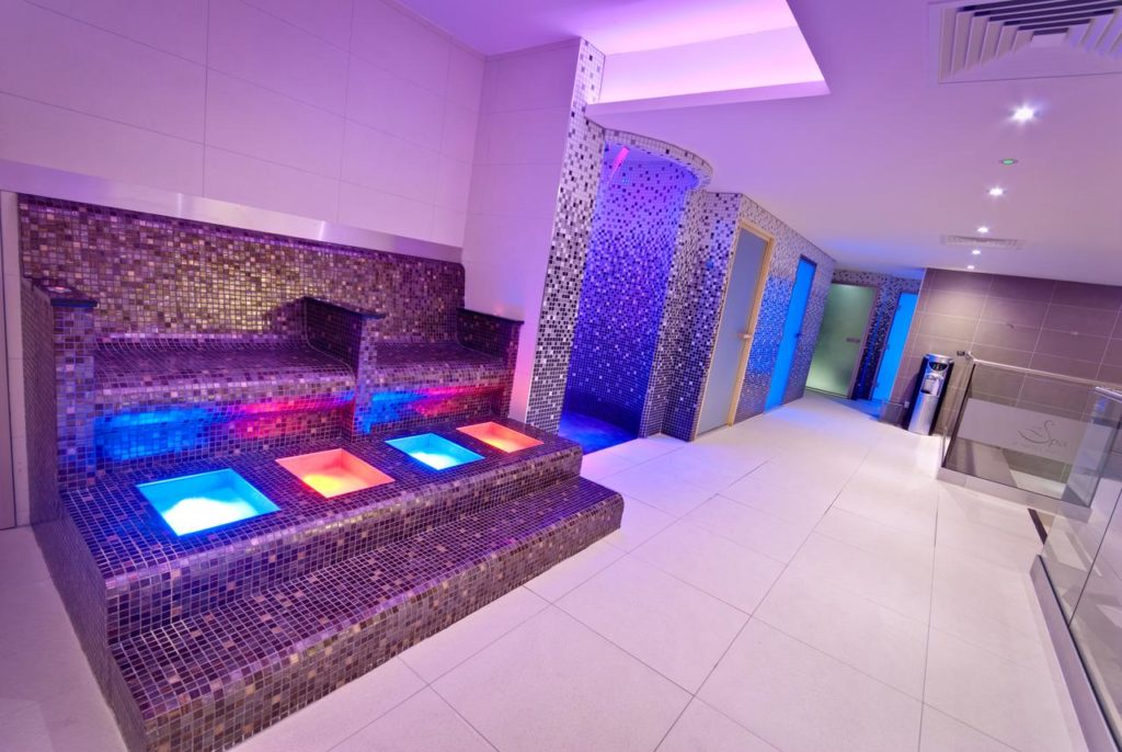 Colorful lights in the Spa area at The Suites Hotel & Spa