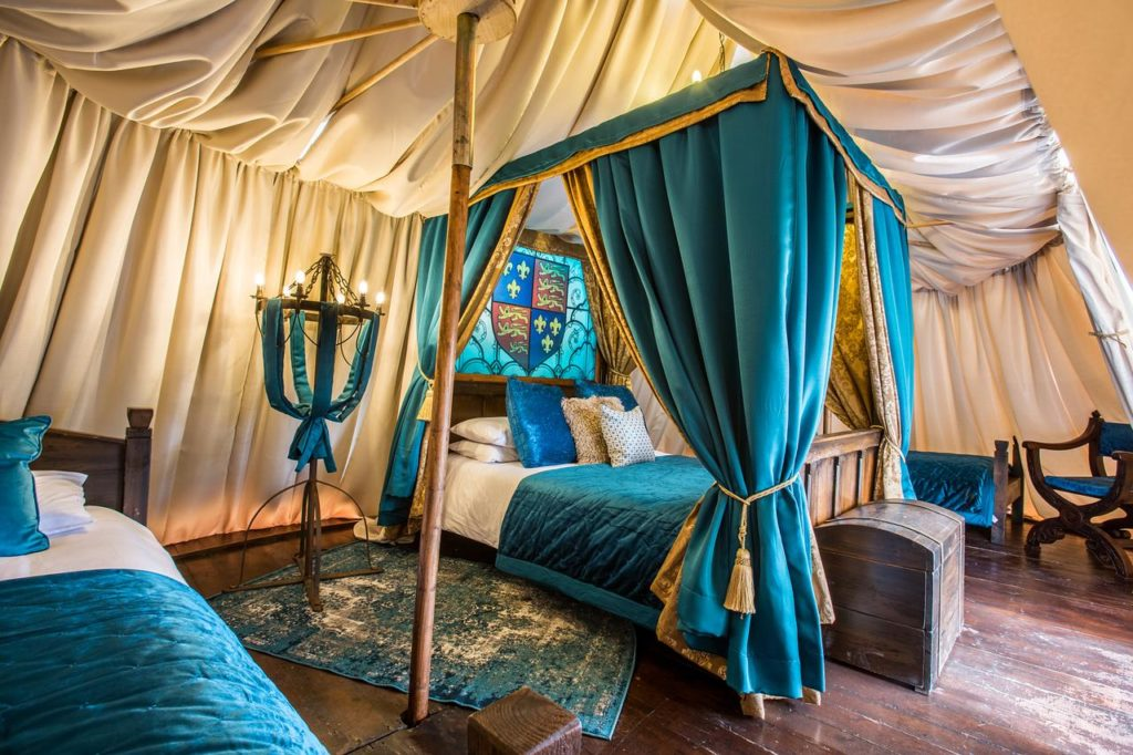 Beautiful castle-themed room at kid-friendly Warwick Castle Knight's Village