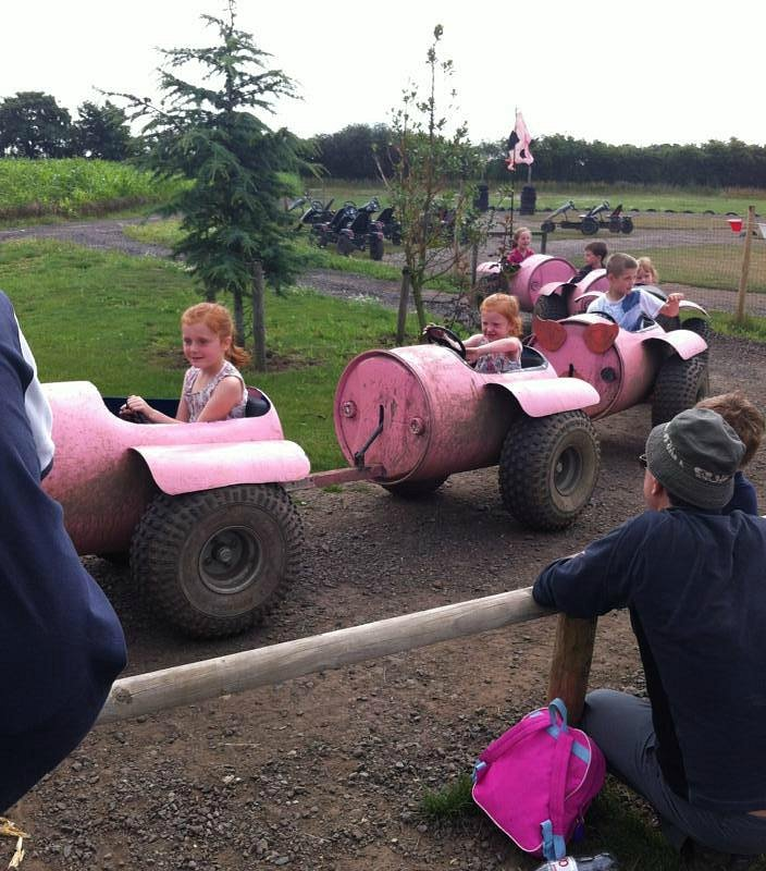 Kids happily riding a pink train at Piglets Adventure Farm