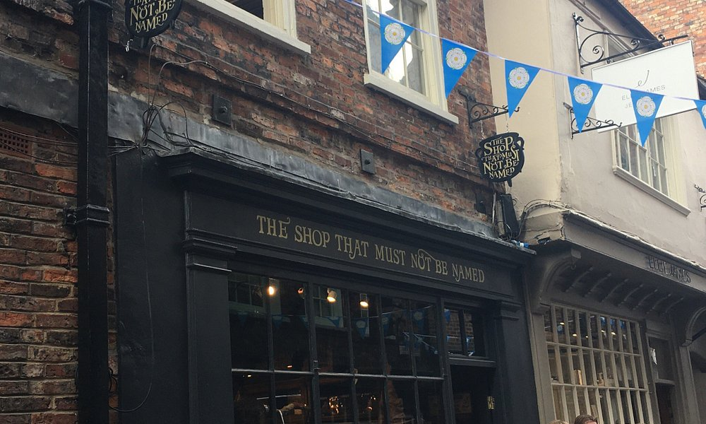 Store fron of The Shop That Must Not be Named in York, inspired by Harry Potter series