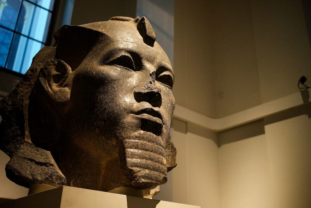 authentic egyptian pharaoh bust and mummies inside the family-favorite, british museum