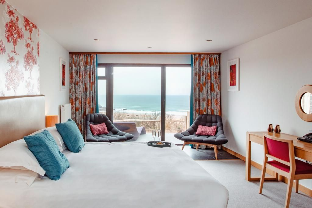 view from your hotel room to the beach and sea at the Bedruthan Hotel & Spa
