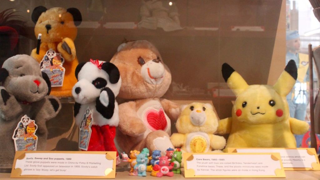 carebears pikachu pokemon and other toys at child-friendly v&a museum of childhood