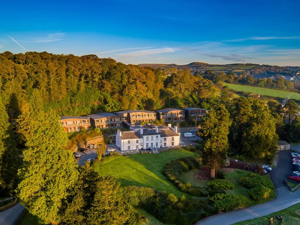 Bird's eye view of the spa and estate for The Cornwall Hotel
