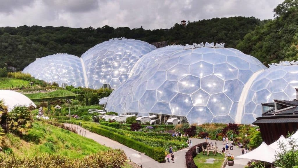 View of the biodomes at the Eden Project in Cornwall