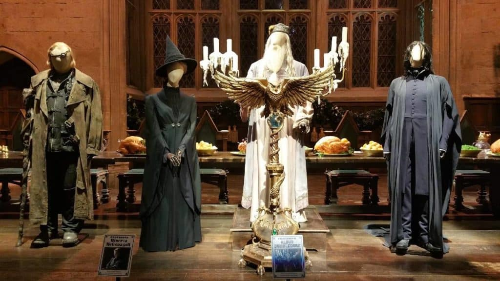 Albus dumbledore, severus snape, mad eye moody, professor minerva mcgonagall, and other cast member's costumes inside kid-friendly harry potter studios london