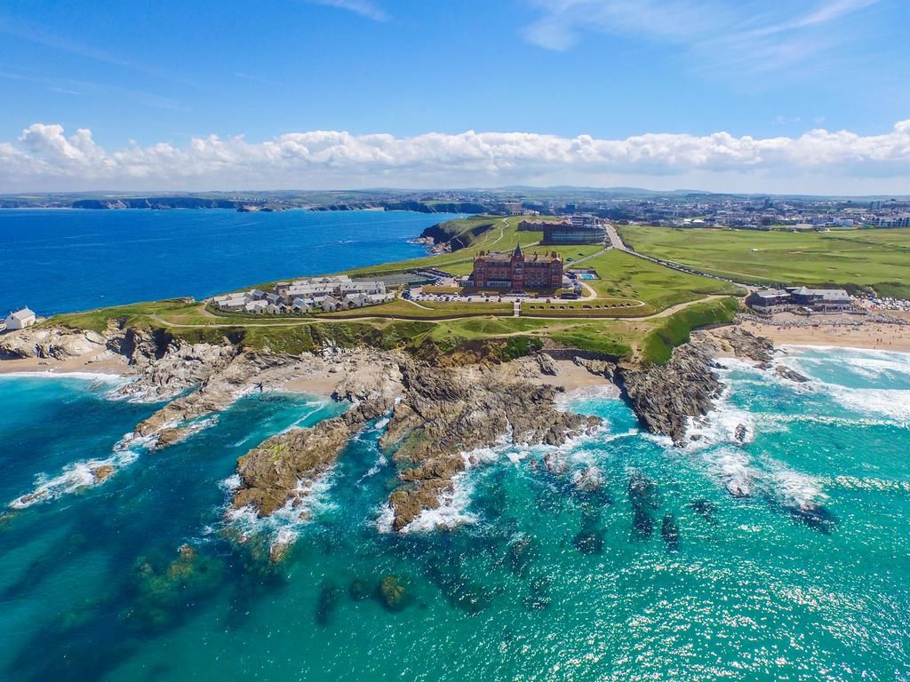 View from the air of the family friendly Headland Hotel and Spa in Cornwall