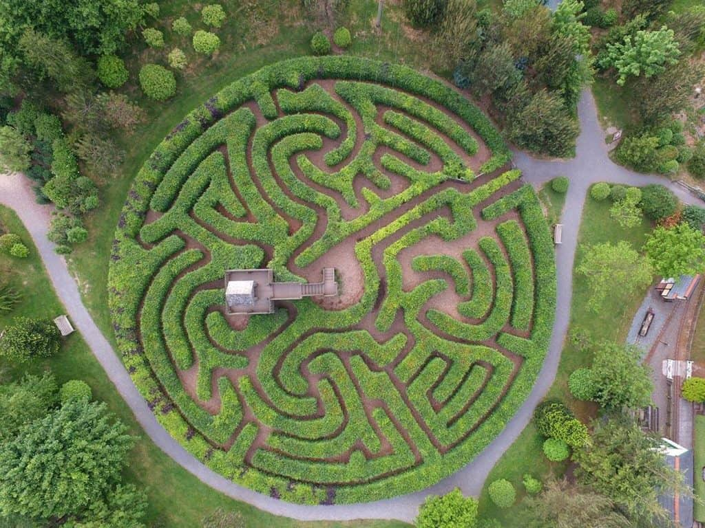 Birds eye view of the maze at Hidden Valley Discovery Park in Launceston, Cornwall