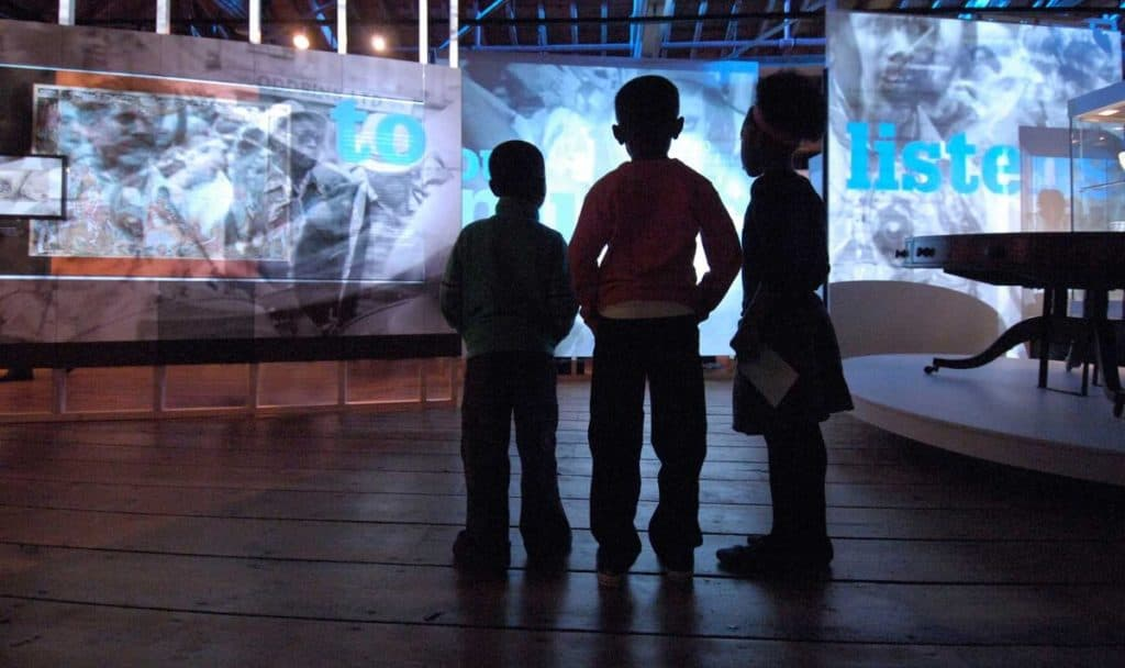 kids watch gigantic screens and learn about the history of the river thames and african slavery at the kid-friendly museum of london docklands.