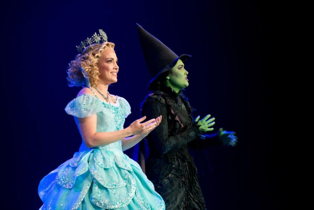 glinda and elphaba wicked witch of the west from wicked london theatre show for kids