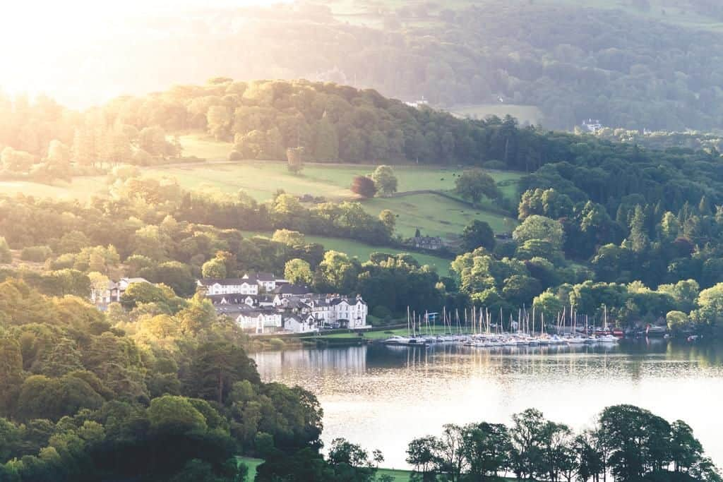 stunning view of the family friendly low wood bay hotel in the lake district