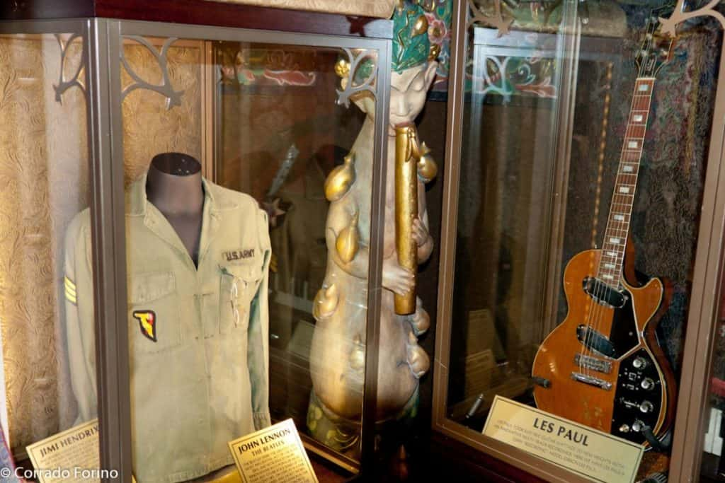 memorabilia from the world's most popular in the music scene like the beatles and jimi hendrix displayed at legendary hard rock cafe