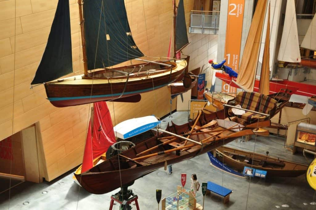 View of boats at the National Maritime Museum in Cornwall