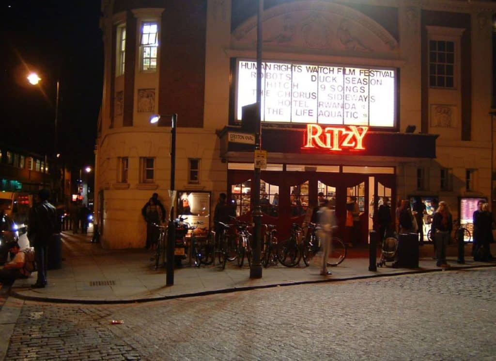 night time view of the beautiful old-school family-friendly ritzy cinema in brixton