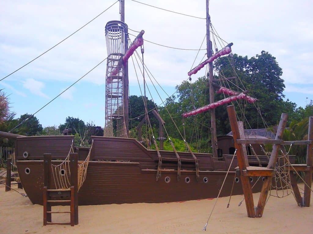 pirate ship for kids at diana memorial playground, kensington gardens in london