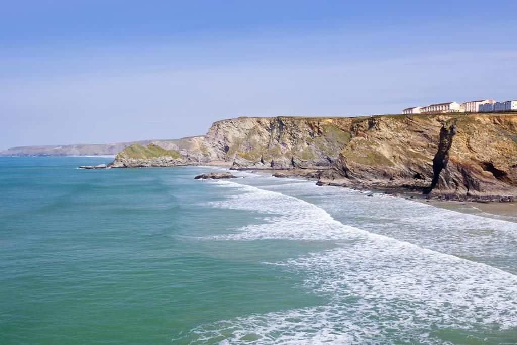 Stunning view from the sea of the Sands Resort child friendly hotel in Newquay