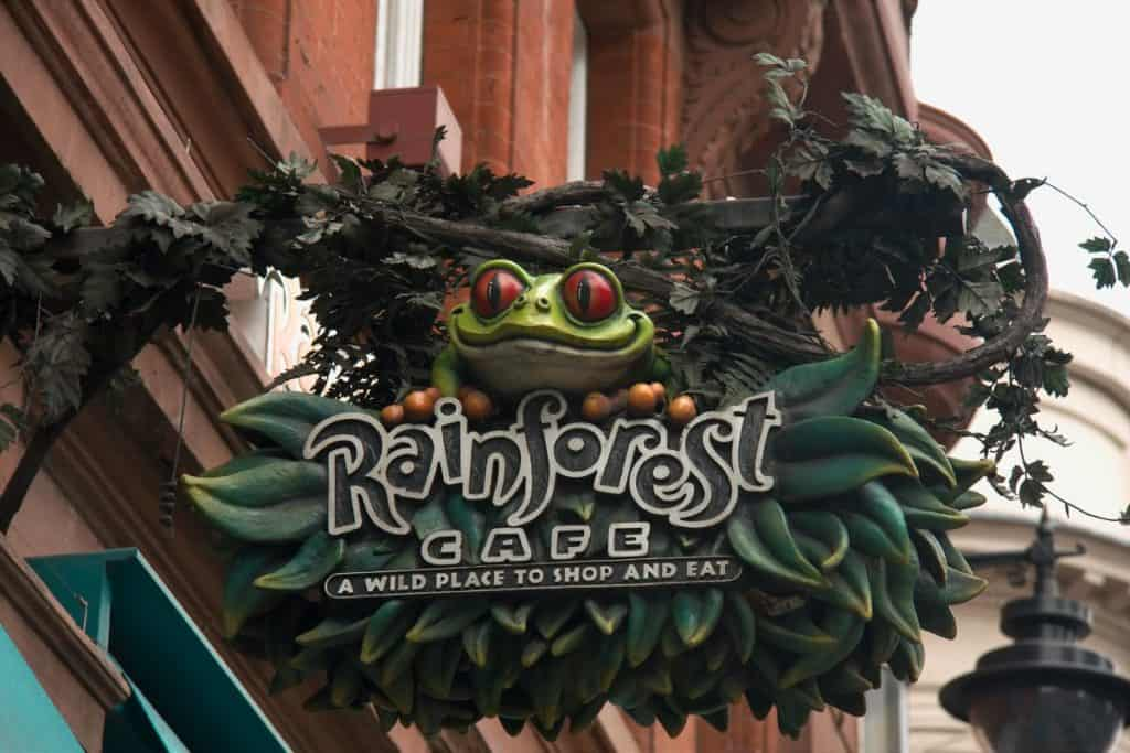frog signage of kid-friendly rainforest cafe