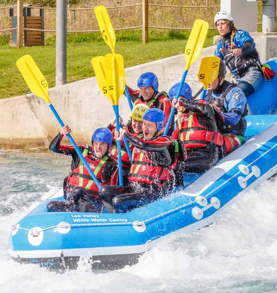 teenagers experience a thrilling white water rafting ride at the lee valley white water centre