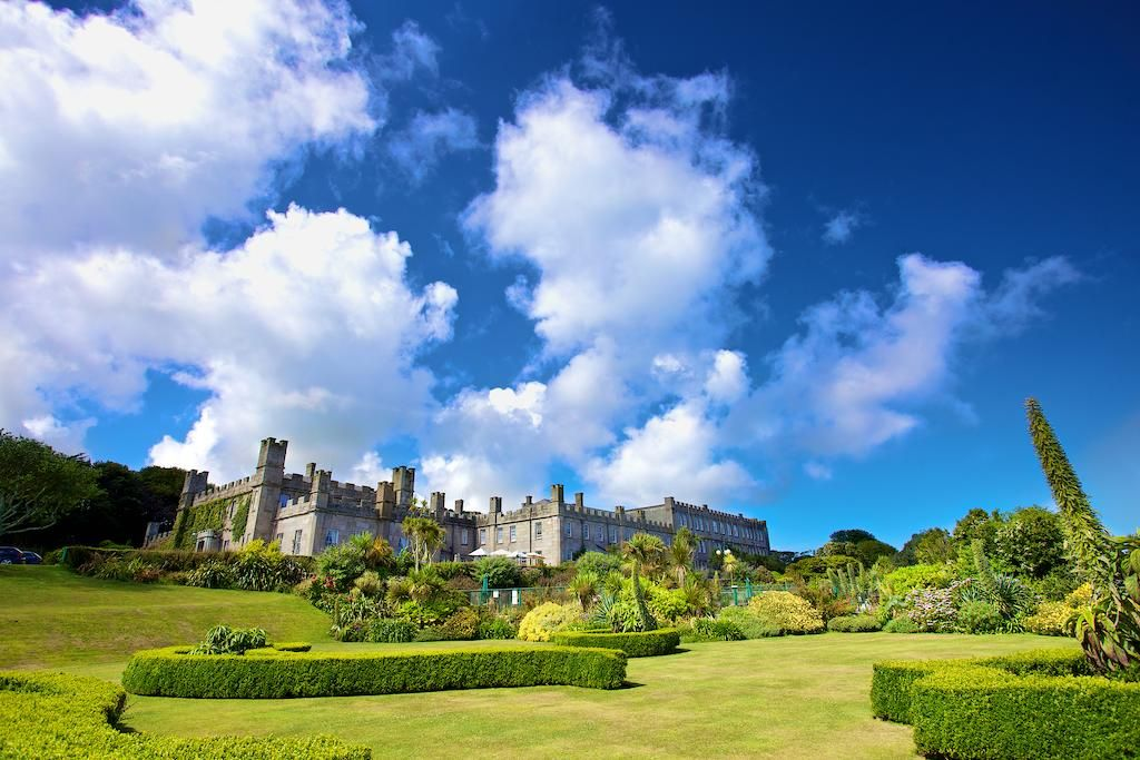 view of the landscaped gardens and Tregenna Castle hotel