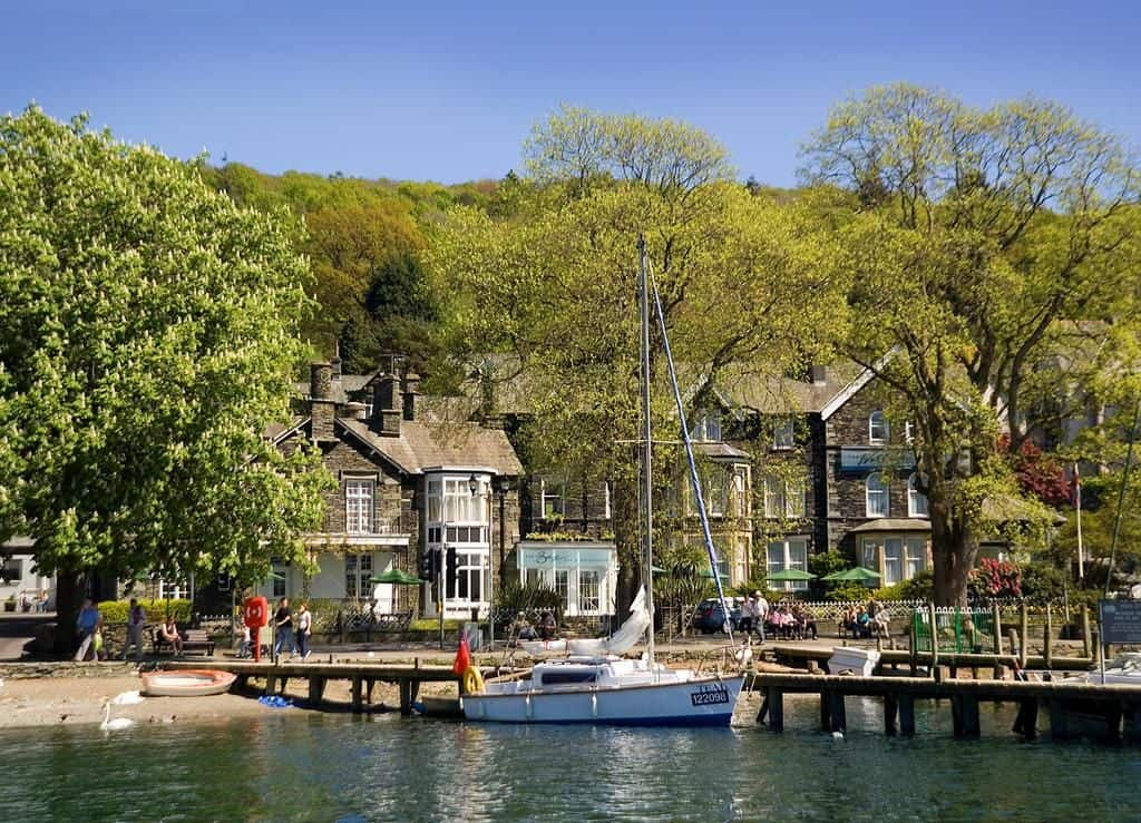 view of the waterhead hotel on the lake in the lake district