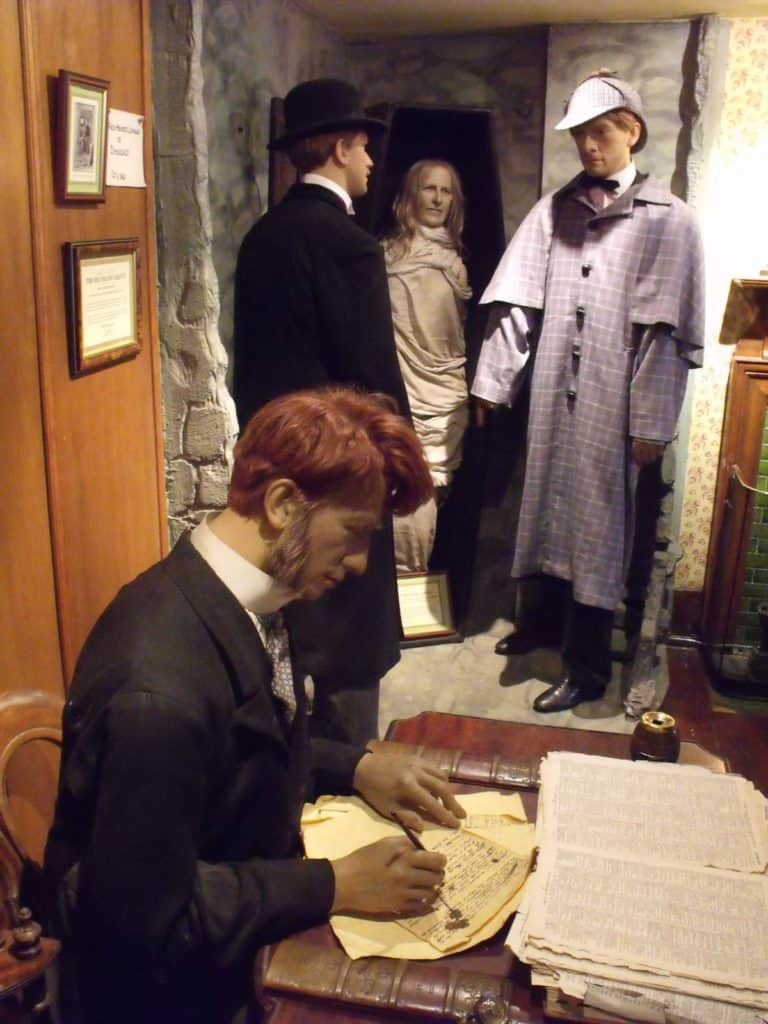 wax figures at the home of the world famous detective at the sherlock holmes museum