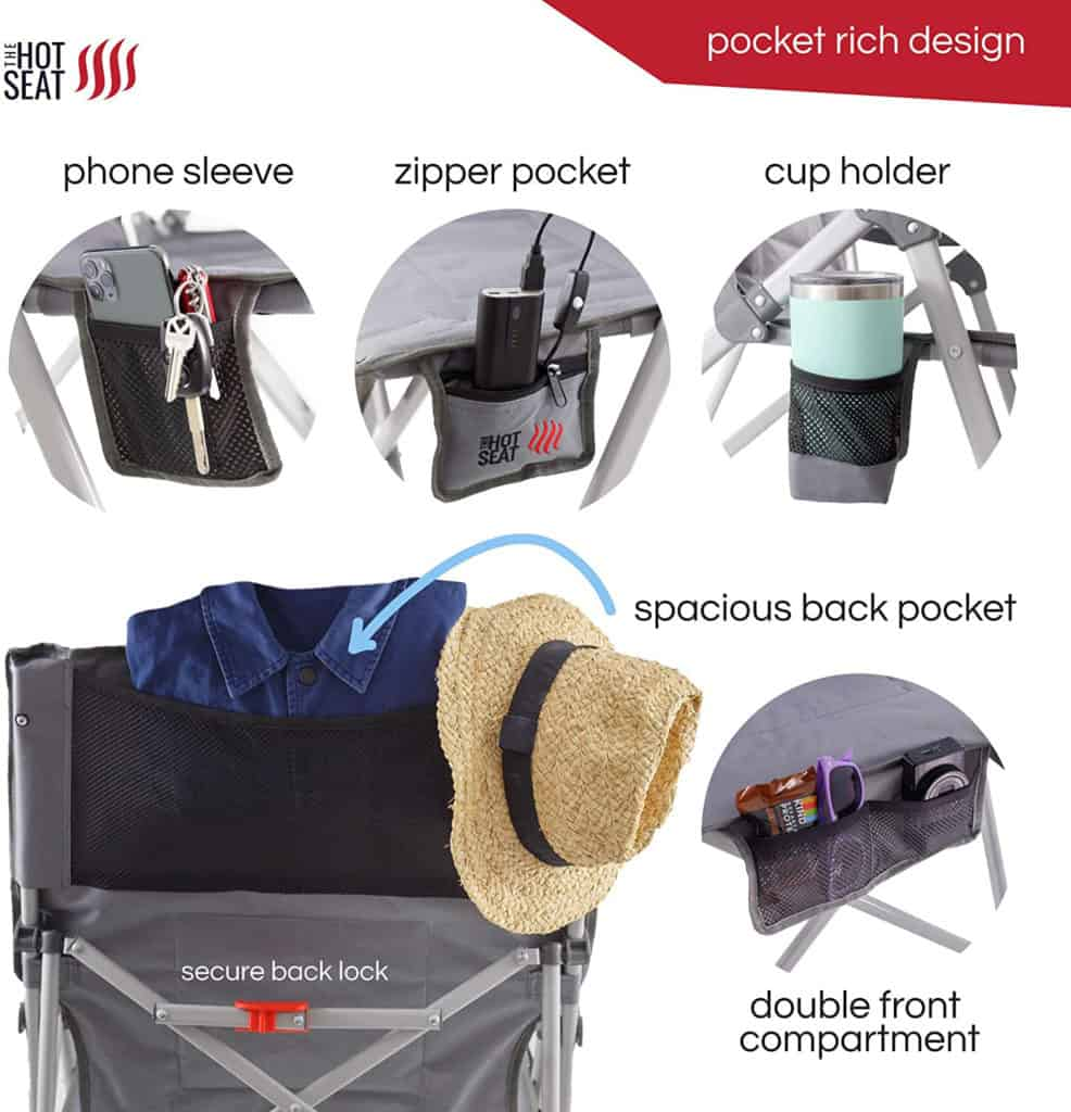 Camping chair pocket options
