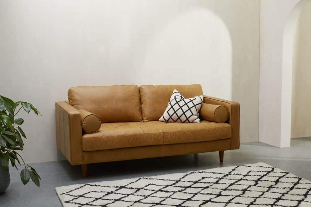 Scott Large 2 Seater Sofa, Charm Tan Premium Leather