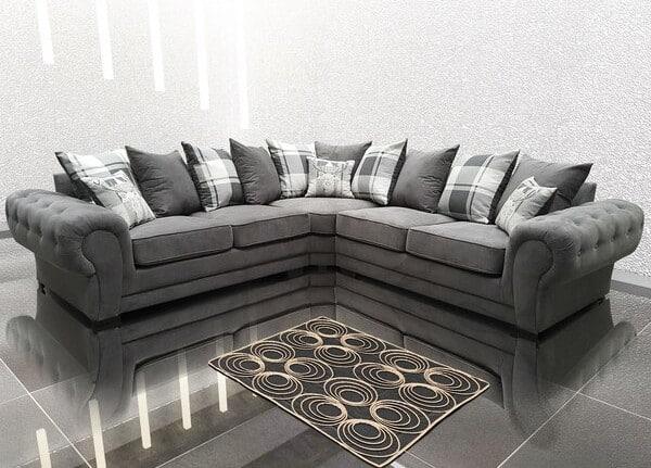 Alcrossagh Grey Chesterfield Corner Sofa