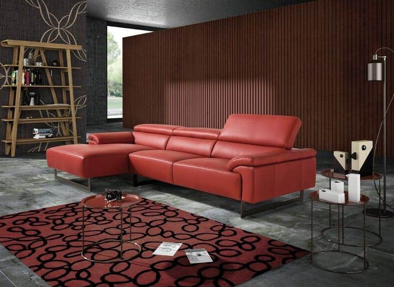 Almaas Red Leather Reclining Corner Sofa