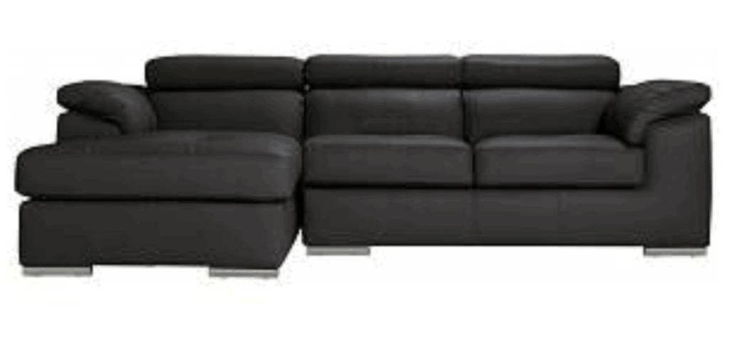 Argos Home Valencia Left Corner Leather Sofa - Black
