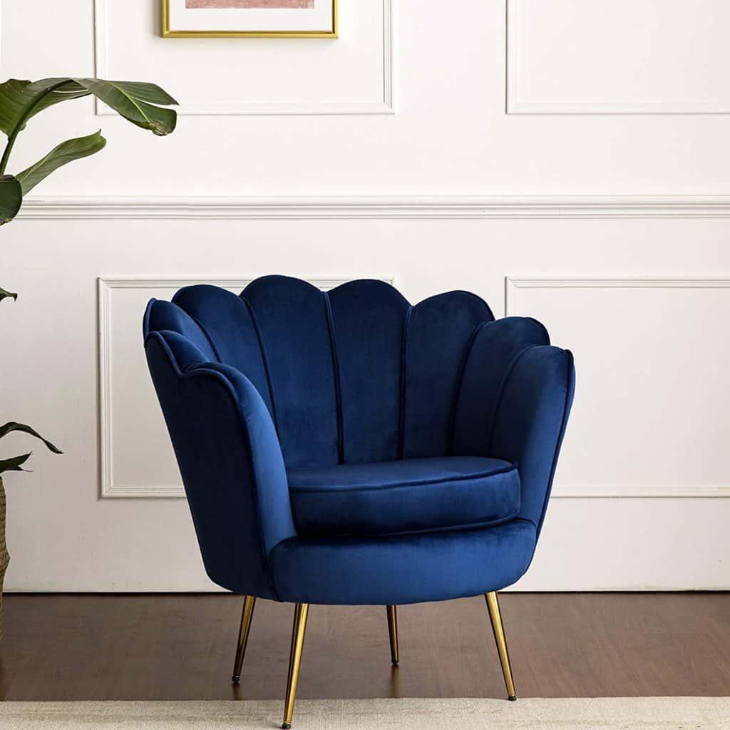 Cherry Tree Hepburn Scalloped Velvet Tub Chair
