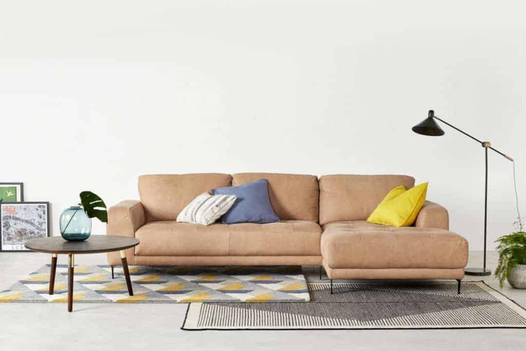 Luciano Tan Leather Corner Sofa
