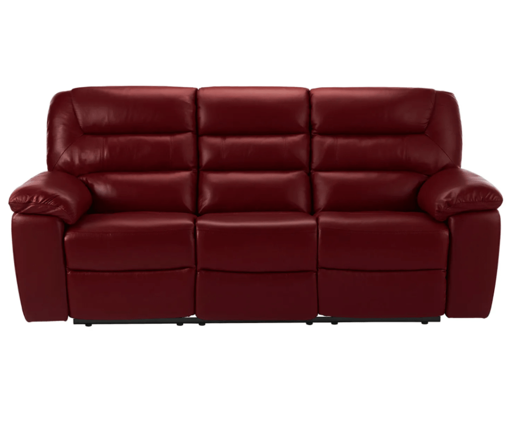 Devon Plus Burgundy Leather 3 Seater Electric Recliner Sofa with Power Headrest