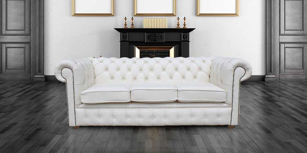 Chesterfield 3 Holyrood Seater White Leather Sofa